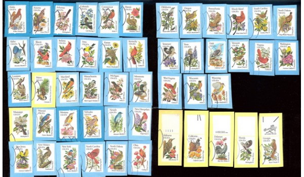 2002A 1982 Birds & Flowers, Used Set On Paper (50)