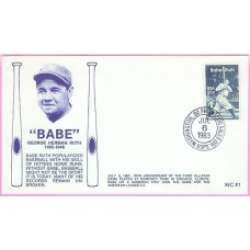 2046 WC111 Babe Ruth, FIRST, UO Washington, DC Philatelic Sales