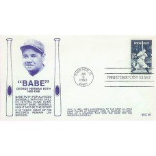 2046 WC101  Babe Ruth, FIRST, FDOI mc *Slogan stamped TWICE*