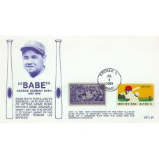 2046 WC101  Babe Ruth, FIRST, FDOI bhc *MISSING RUTH STAMP*