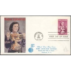 1932 Babe Zaharias, World Golf Hall of Fame, FIRST, Pinehurst, NC; Full color cachet WITHOUT Pinehurst logo