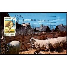 1423 Bromley & Company; PPC; Plimoth Plantation, Plymouth, MA; American Wool